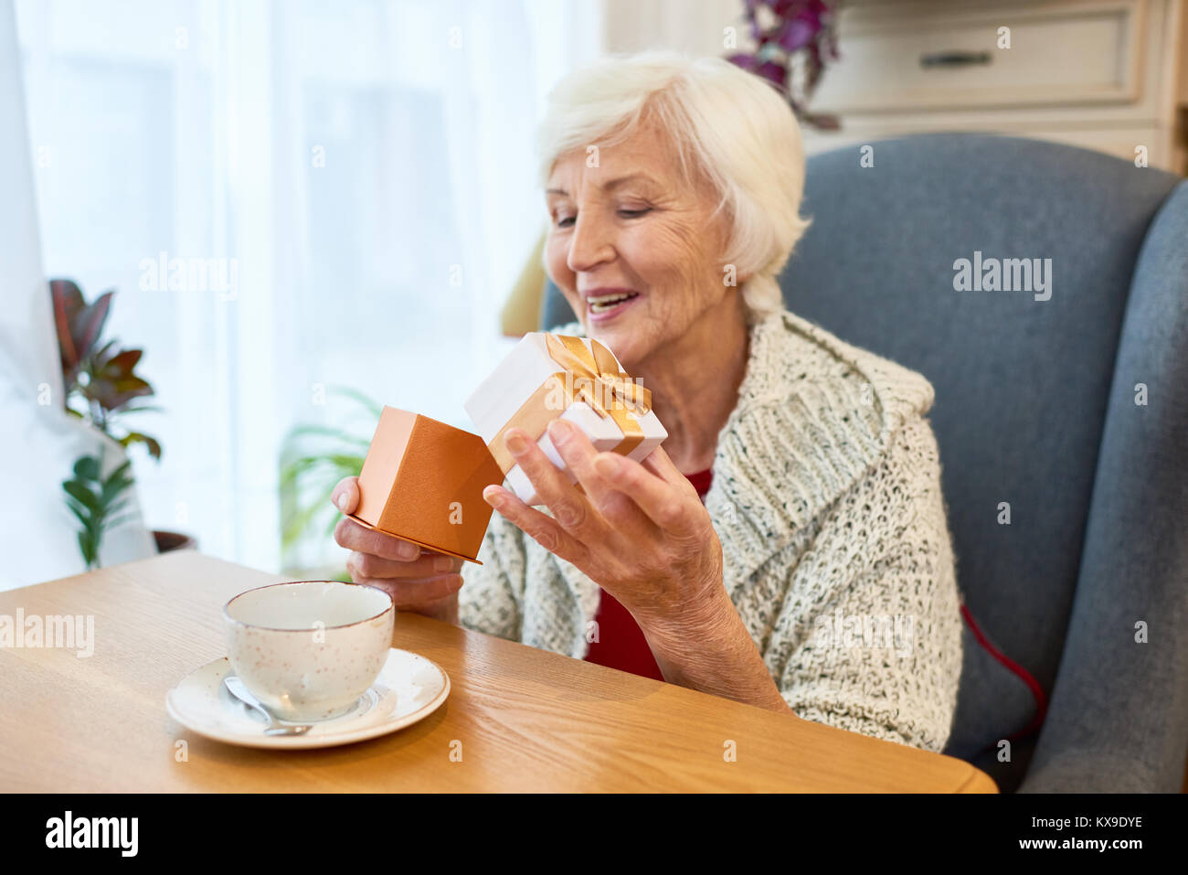 Celebrating Birthday at Cozy Cafe - Stock Image