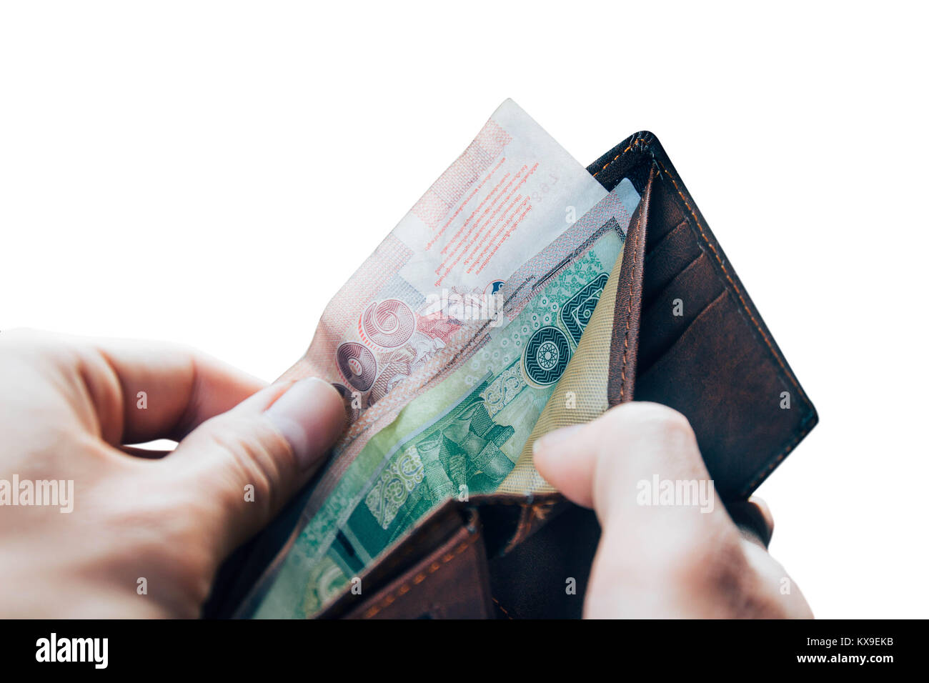 Thai money in wallet, pay cash Stock Photo