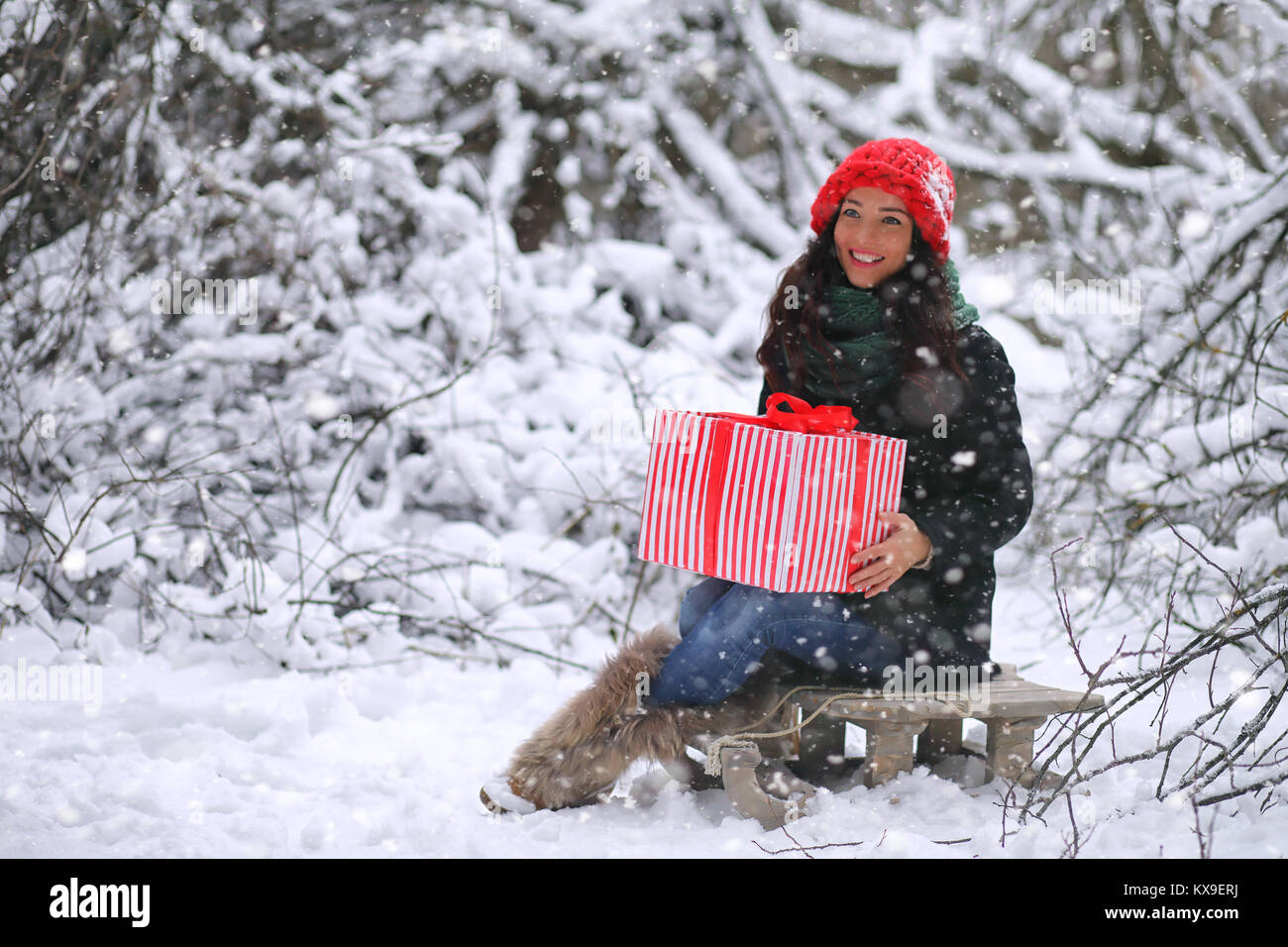 A winter fairy tale, a young mother and her daughter ride a sled - Stock Image