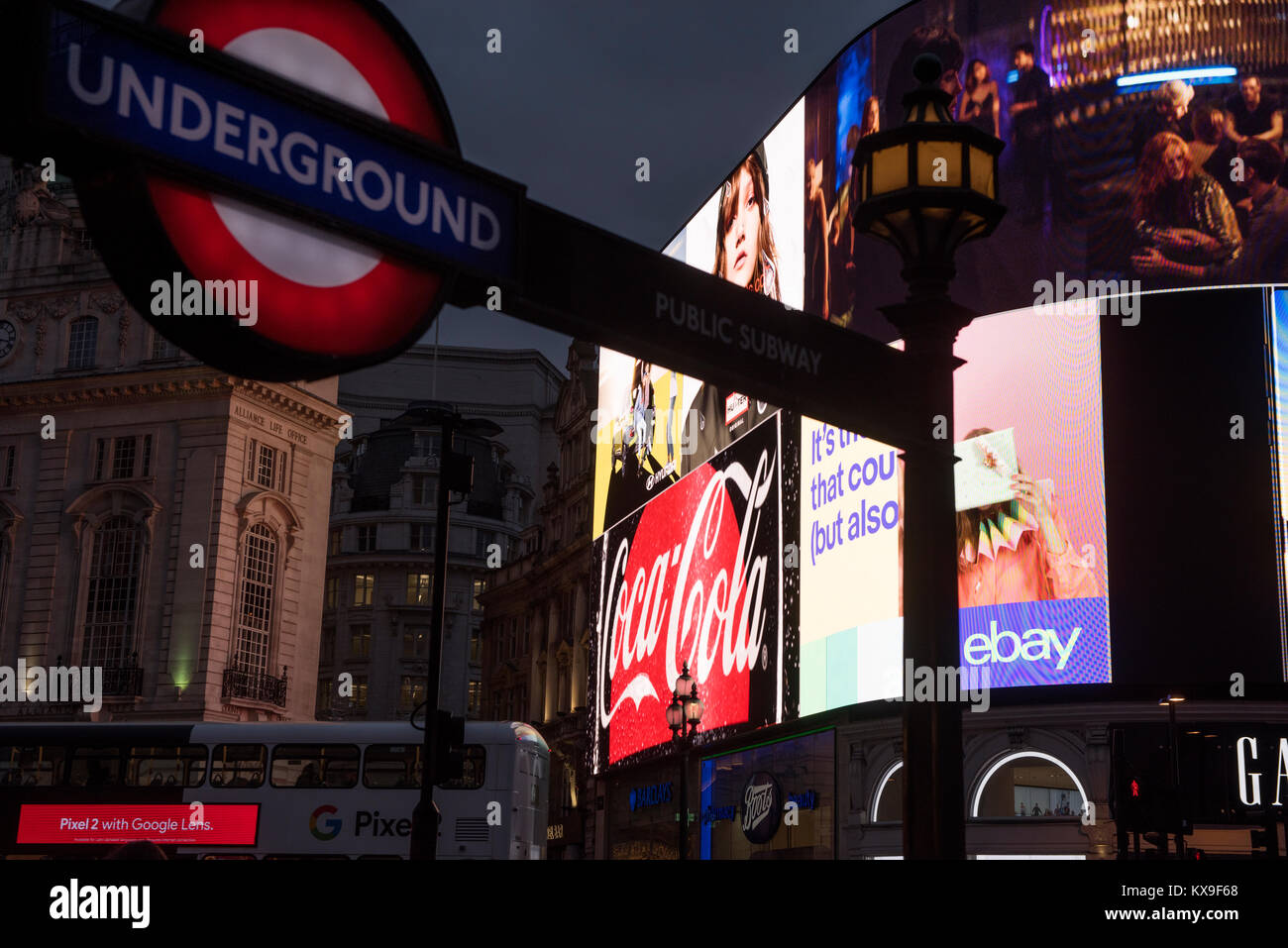 London Piccadilly Circus showing NEW advertising displays December 2017 The world famous advertising displays in - Stock Image