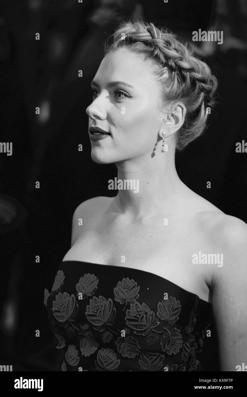 London, UK, 19/04/ 2012:  ( Image digitally altered to monochrome ) Scarlett Johansson attends the Avengers Assemble Stock Photo