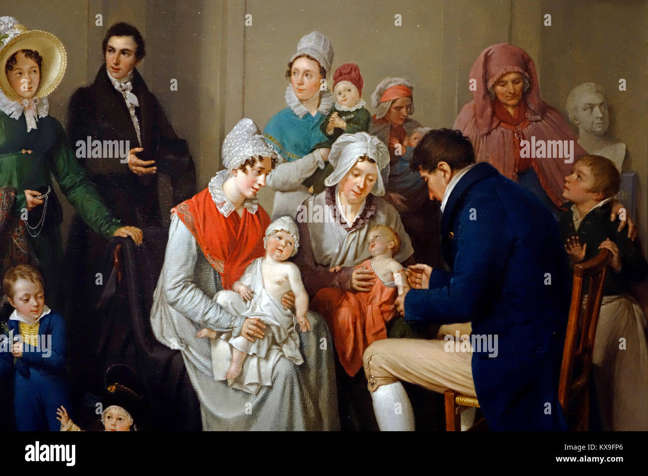 Nineteenth century painting showing doctor vaccinating babies with cowpox to protect them from the more virulent - Stock Image