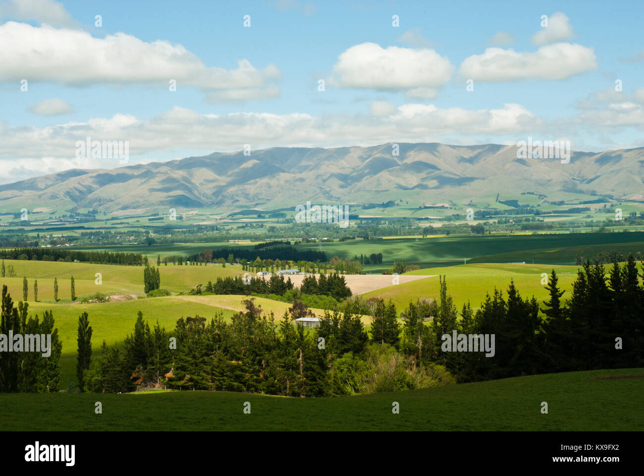 Stunning landscape from State Highway 79 (Fairlie-Geraldine road) looking west to mountain range with lush fields, - Stock Image