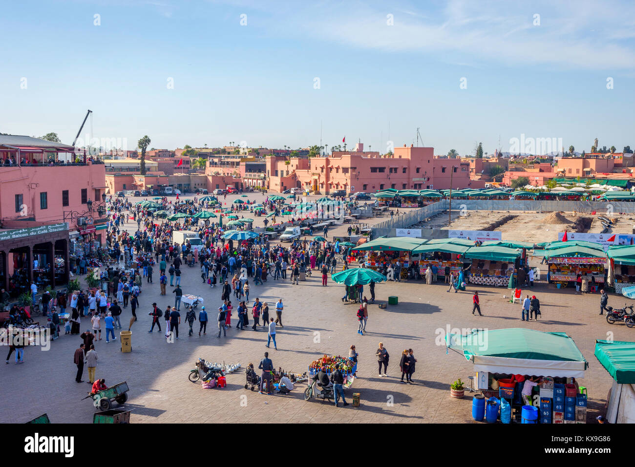 MARRAKECH, MOROCCO - DECEMBER 11: Crowded Jemaa el-Fnaa square from above, Marrakech. December 2016 Stock Photo