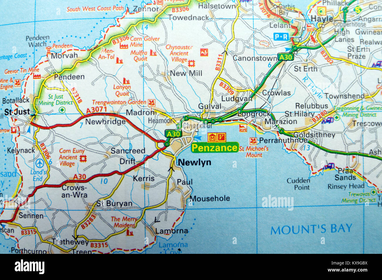 Map Of West Cornwall Road Map of Penzance, Cornwall, South West, England Stock Photo