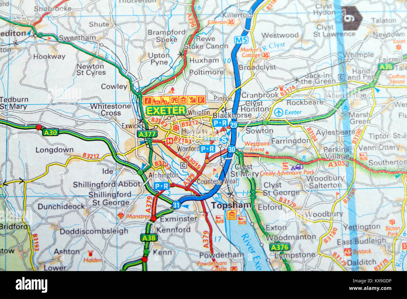 Road Map of Exeter Devon England Stock Photo 171084866 Alamy