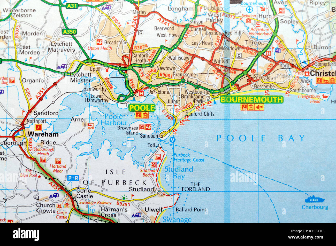 Map Of Poole Road Map of Poole Harbour and Bournemouth, England Stock Photo