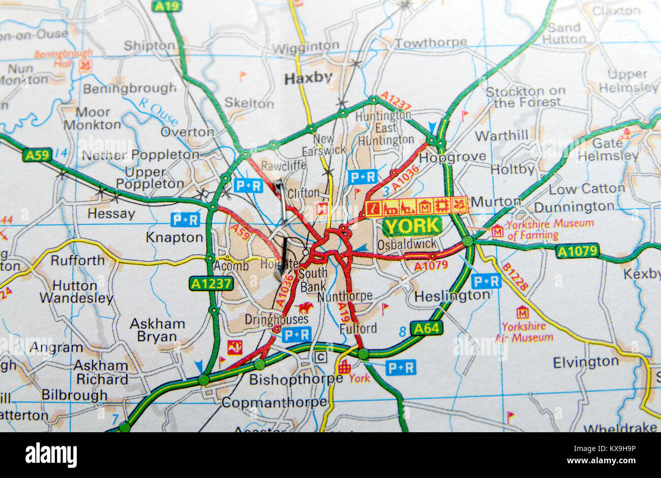 Map Of England Showing York.Road Map York England Stock Photos Road Map York England Stock