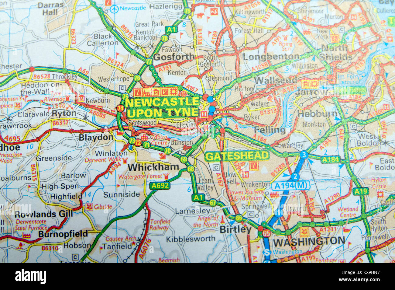 Map Of Newcastle Upon Tyne Road Map of Newcastle upon Tyne, England Stock Photo: 171085859