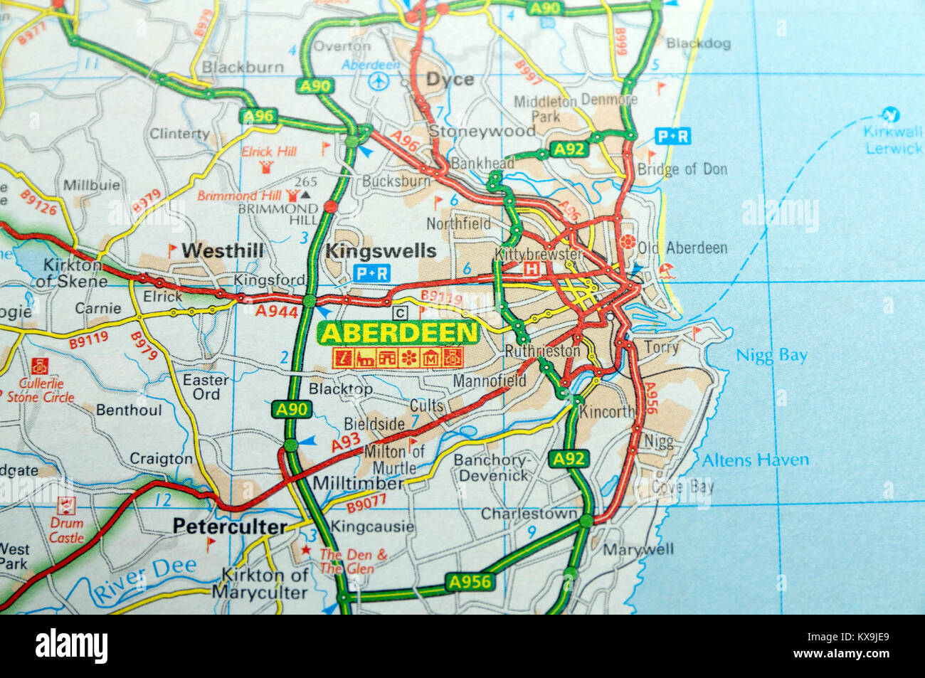 Road Map of Aberdeen, Scotland Stock Photo: 171086449 - Alamy