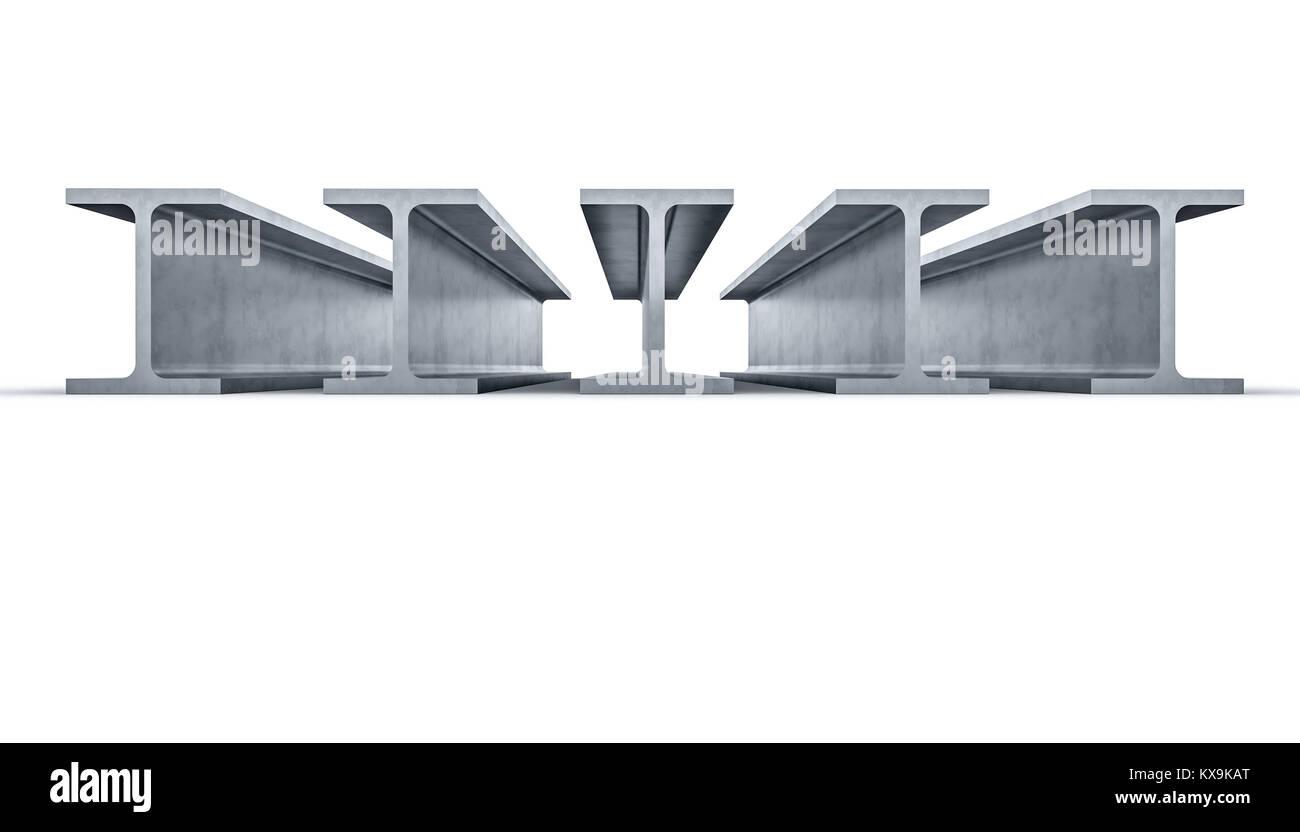 3d rendering image of steel beam - Stock Image