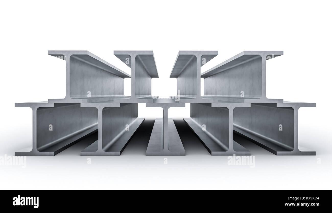 steel metal beam on white background 3d rendering image - Stock Image