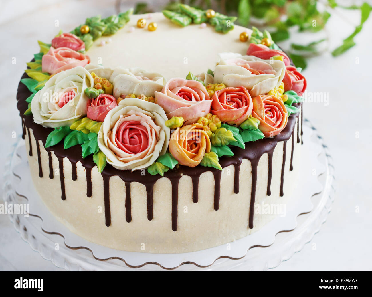 Peachy Birthday Cake With Flowers Rose On White Background Stock Photo Personalised Birthday Cards Cominlily Jamesorg