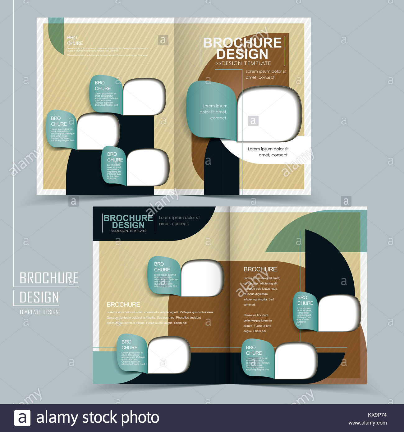 elegant half fold template design with geometric elements stock