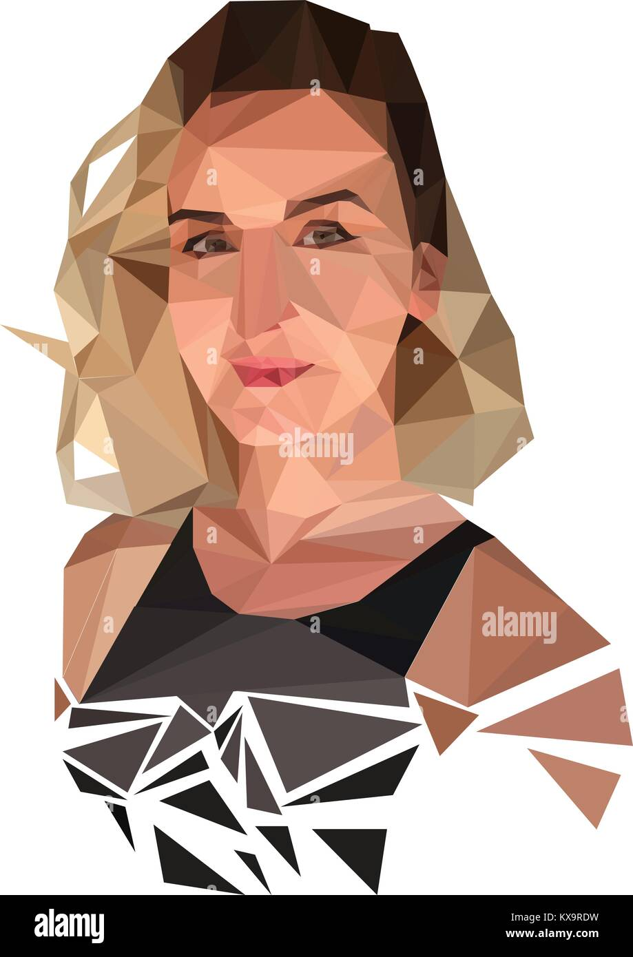 Triangle Abstract Beautiful Girl S Face Color Stock Vector