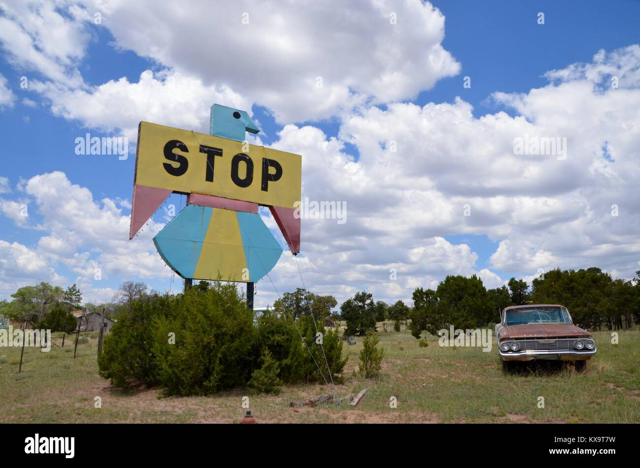 a hand painted thunderbird style sign and vintage car in pietown new mexico Stock Photo