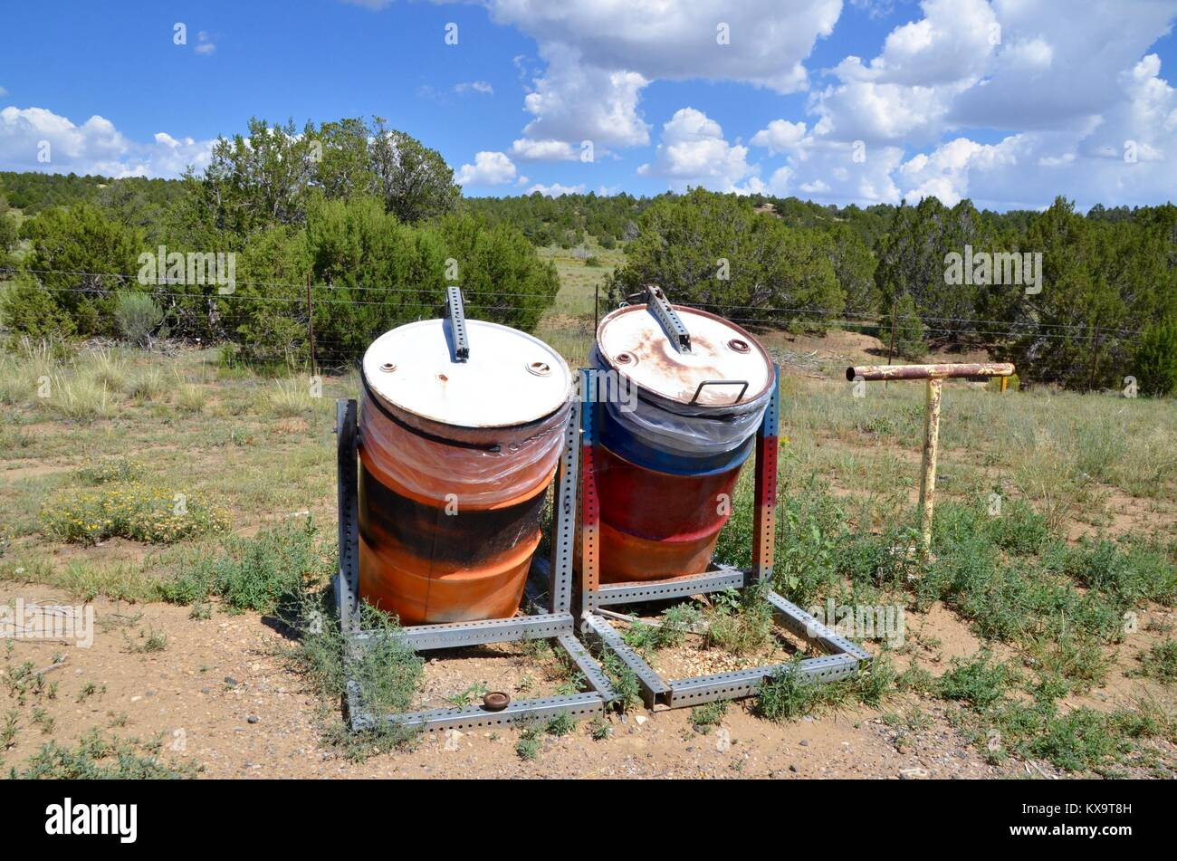 two animal proof trash cans new mexico USA - Stock Image