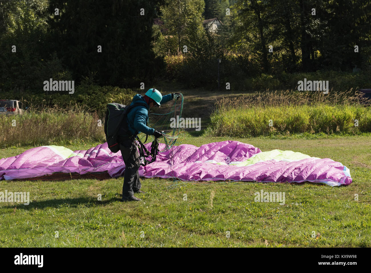 Paraglider landing on green landscape Stock Photo