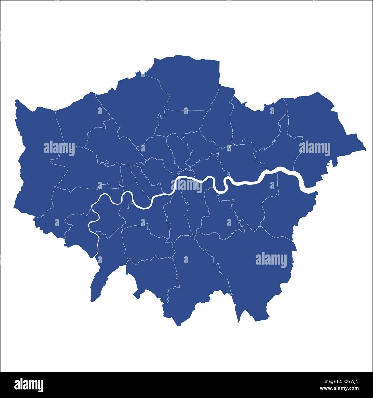 Greater London map showing all boroughs - Stock Image