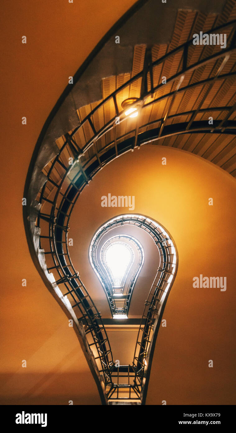 spiral staircase lighting. Spiral Staircase In Prague. Stairs Which Its Perspective Is Like To Light Bulb. Czech Republic Lighting G