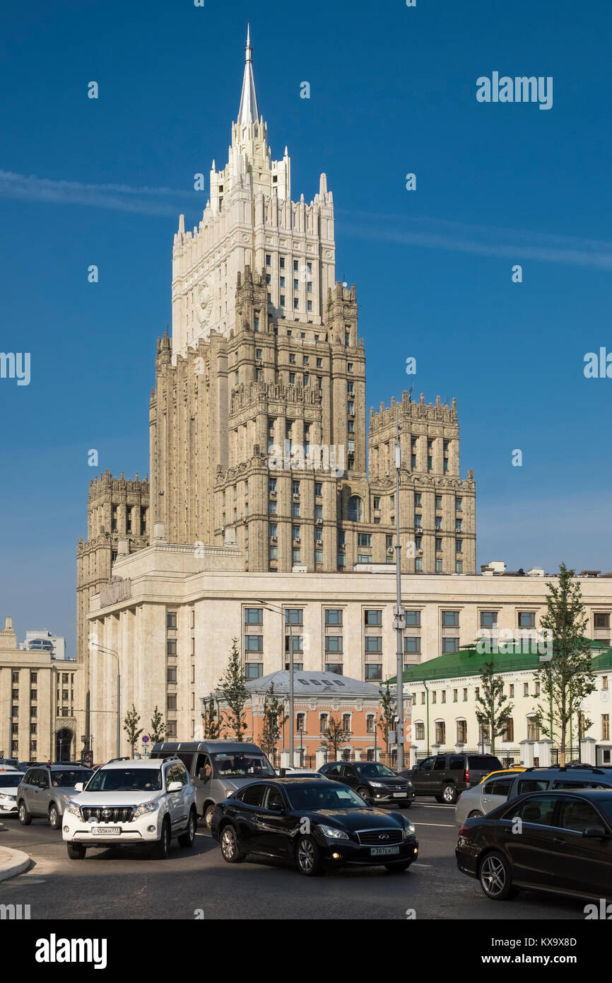 Architectural exterior of Moscow landmark building Ministry of Foreign Affairs of Russia, Smolenskaya-Sennaya pl, - Stock Image