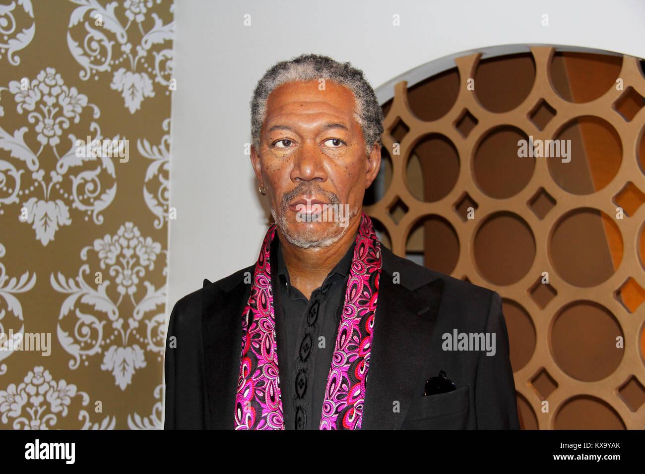 London, - United Kingdom, 08, July 2014. Madame Tussauds in London. Waxwork statue of Morgan Freeman. - Stock Image