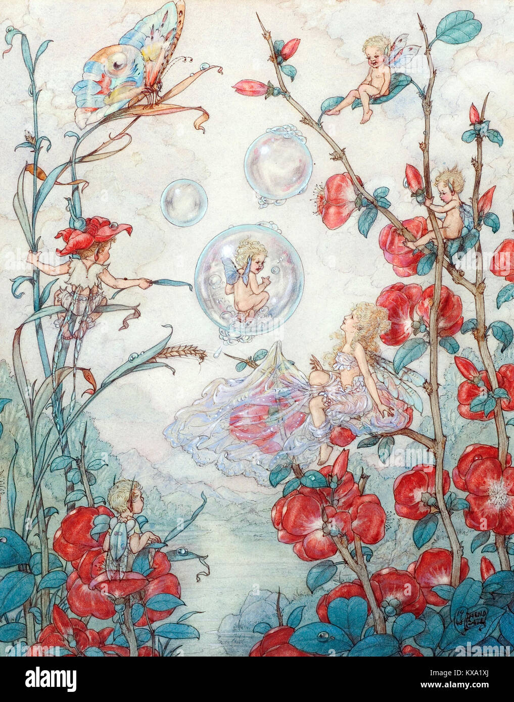 Fairies and Bubbles - Stock Image