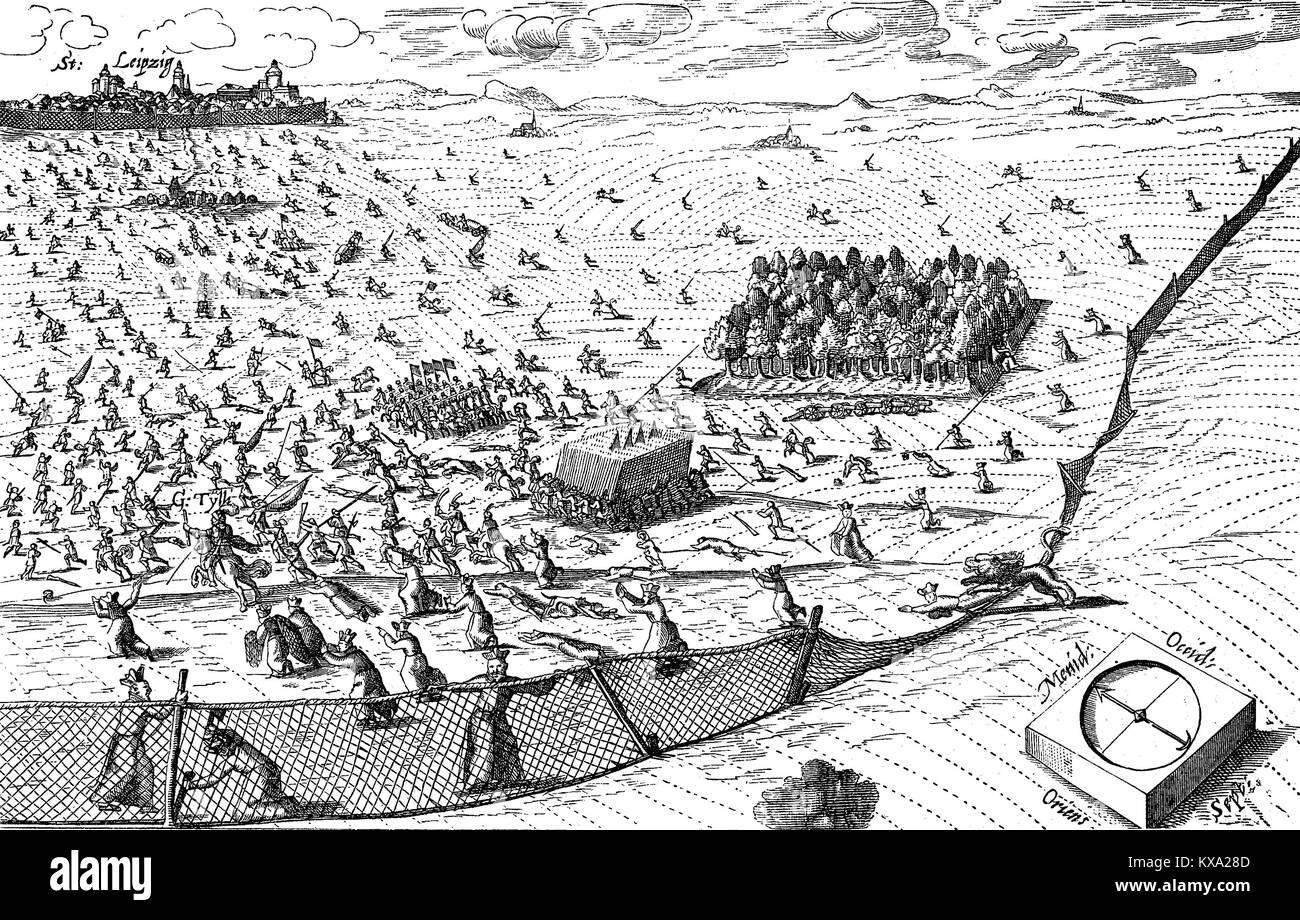 Thirty years' war, the lion from the north breaks through the nets drawn by the Jesuits, in the background Leipzig, - Stock Image