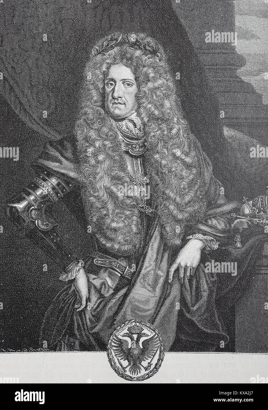 Charles VI, 1 October 1685 - 20 October 1740, succeeded his elder brother, Joseph I, as Holy Roman Emperor, King - Stock Image
