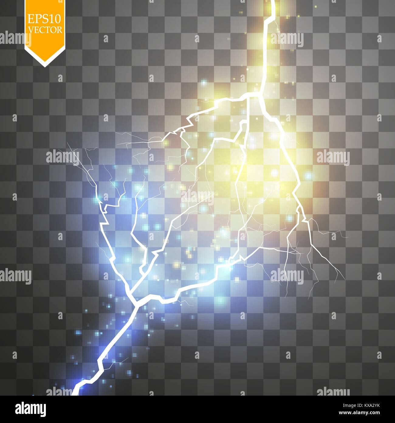Collision of two forces with gold and blue light. Vector illustration. Hot and cold sparkling power. Energy lightning - Stock Vector