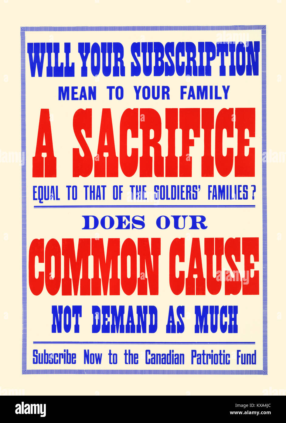 A Sacrifice; Common Cause - Stock Image