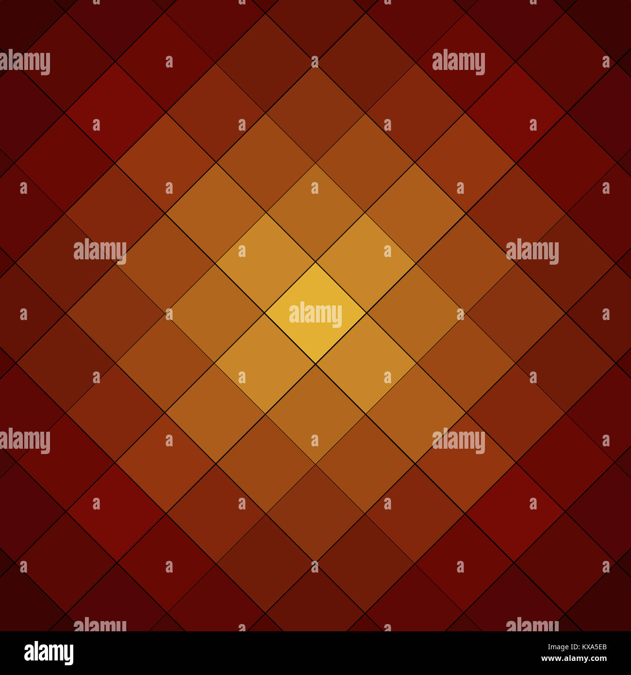 orange and yellow checkered cube background pattern Stock Photo