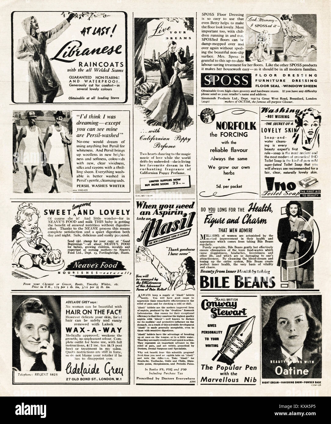 1940s old vintage original adverts typical of the period advertising in magazine circa 1947 when supplies were still - Stock Image