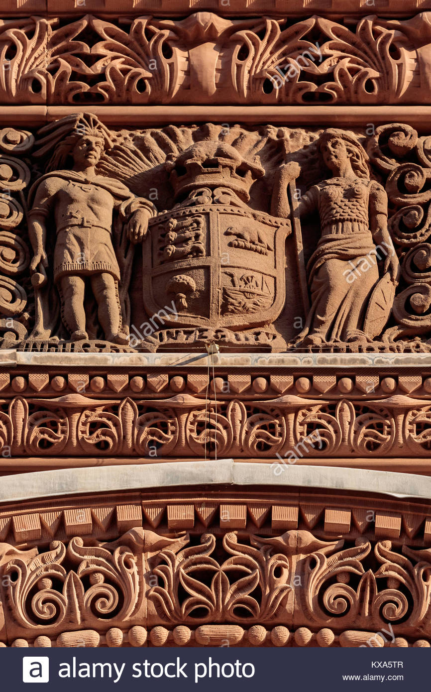 ornamental stonework on Toronto old city hall a National Historic Site in Romanesque Revival by E J Lennox in Ontario - Stock Image