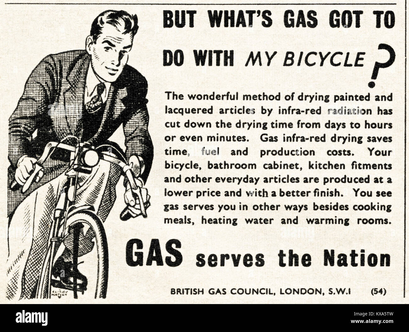 1940s old vintage original advert advertising British Gas Council in magazine circa 1947 when supplies were still Stock Photo