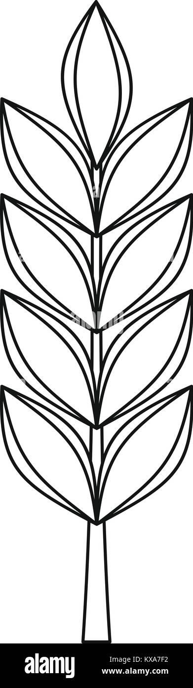 Hand drawn black ripe wheat sheaf. vector decorative element, brand icon or  logo template.
