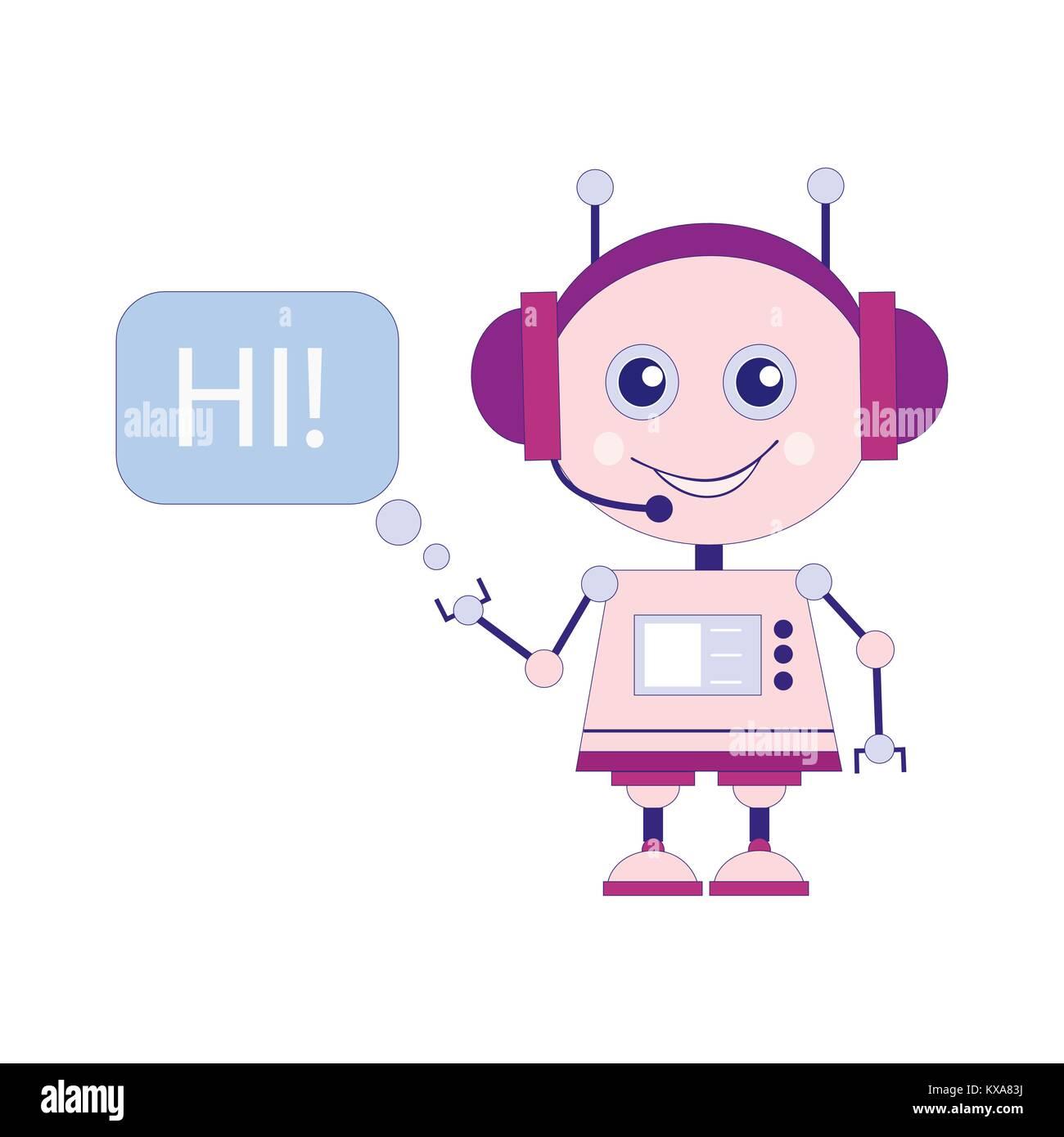 Funny smiling vector robot, chat bot say hi - Stock Image
