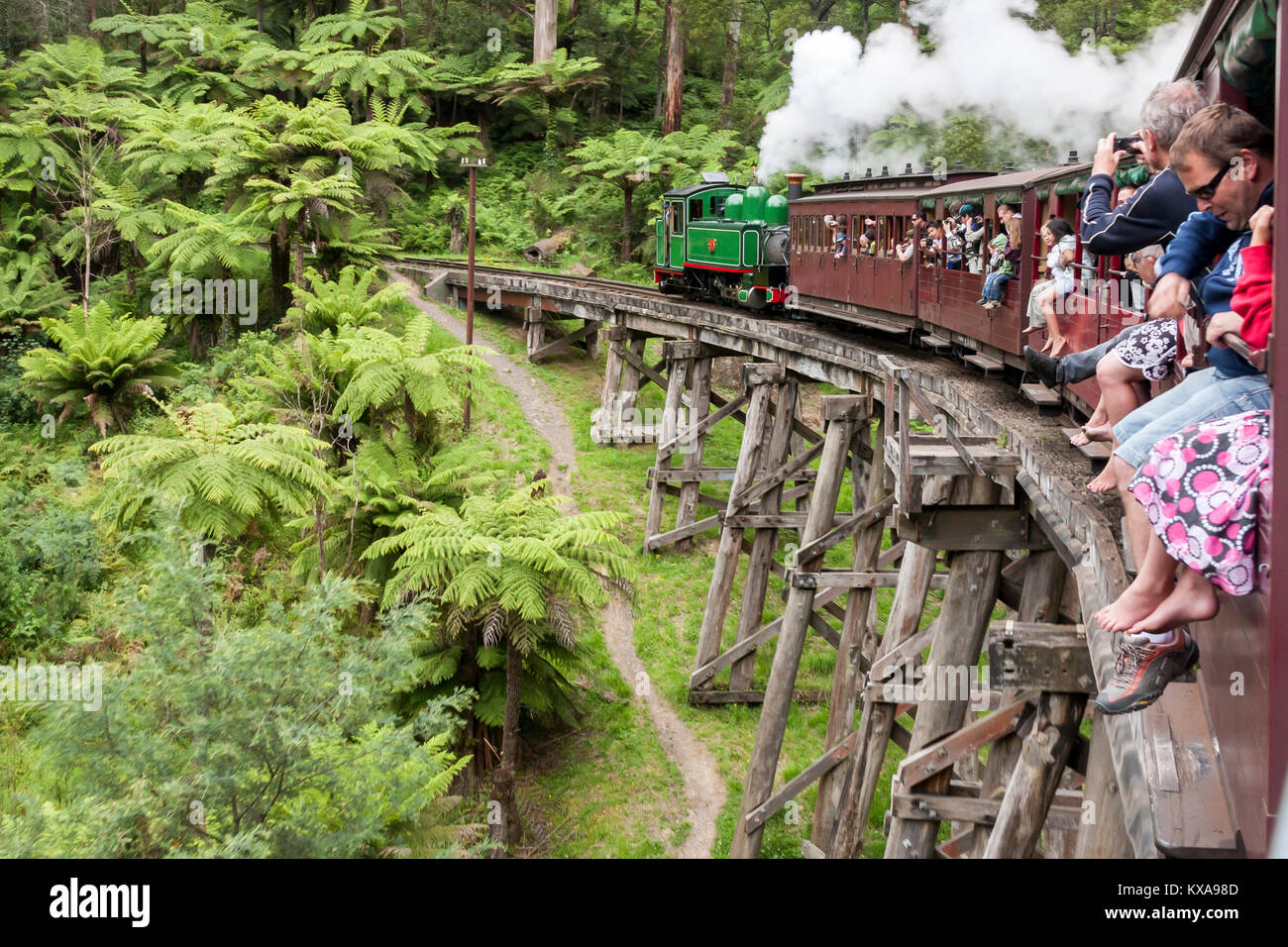 Melbourne, Australia. Puffing Billy is historical narrow railway in the Dandenong Ranges near Melbourne. Puffing - Stock Image