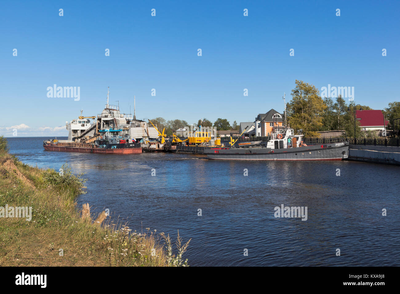 Belozersk, Vologda region, Russia - August 10, 2015: Vessels of technical fleet at the entrance to Belozersky bypass - Stock Image