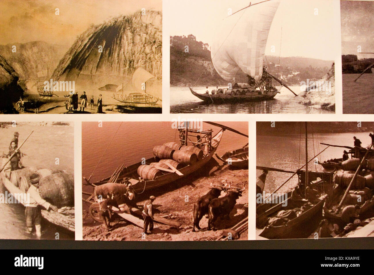Old postcards of port production and transport, Porto, Portugal - Stock Image