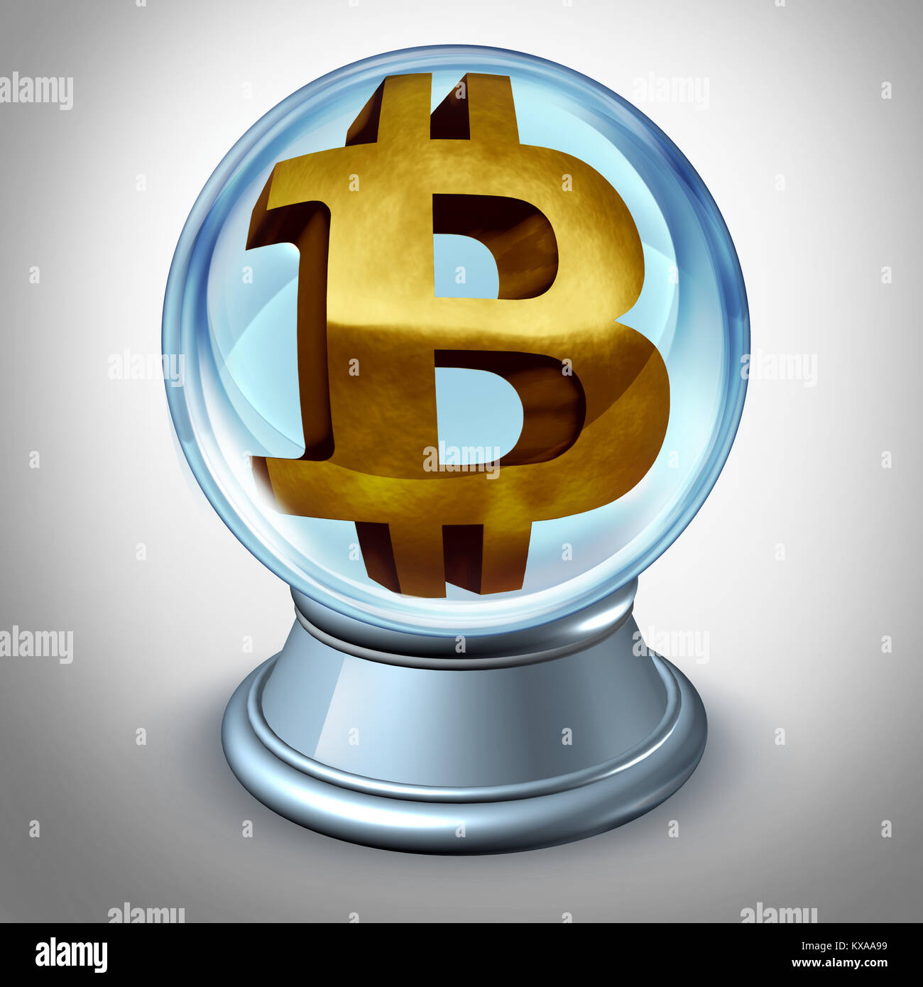Bitcoin future and cryptocurrency prediction and predicting the value of digital currency as a financial symbol - Stock Image