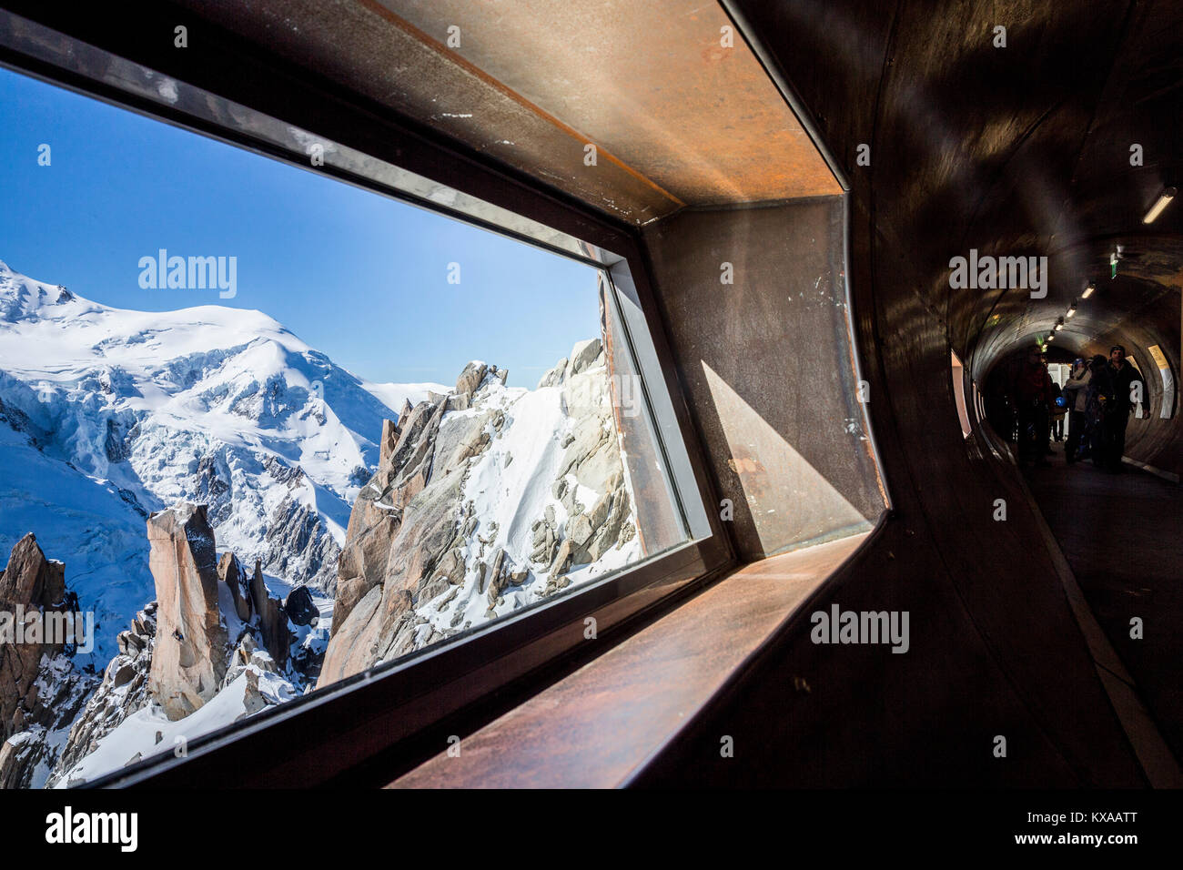 View from inside tube that allows tourists to go around Aiguille du Midi peak in French Alps, Chamonix Mont-Blanc, - Stock Image