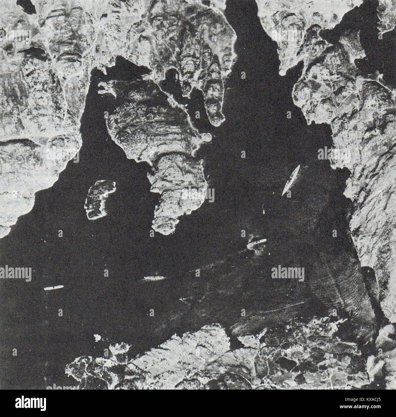 Aerial reconnaissance photo showing Bismarck anchored (on the right) in Norway, Battleship Bismarck, Aerial reconnaissance - Stock Image