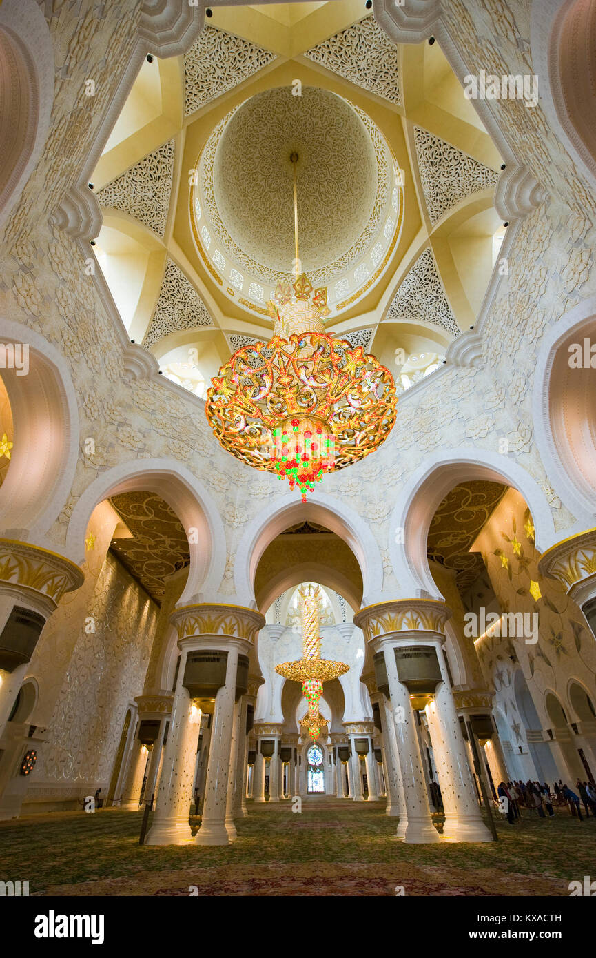 Interior of the Sheikh Zayed Mosque in Abu Dhabi. It is the largest mosque in the country. - Stock Image