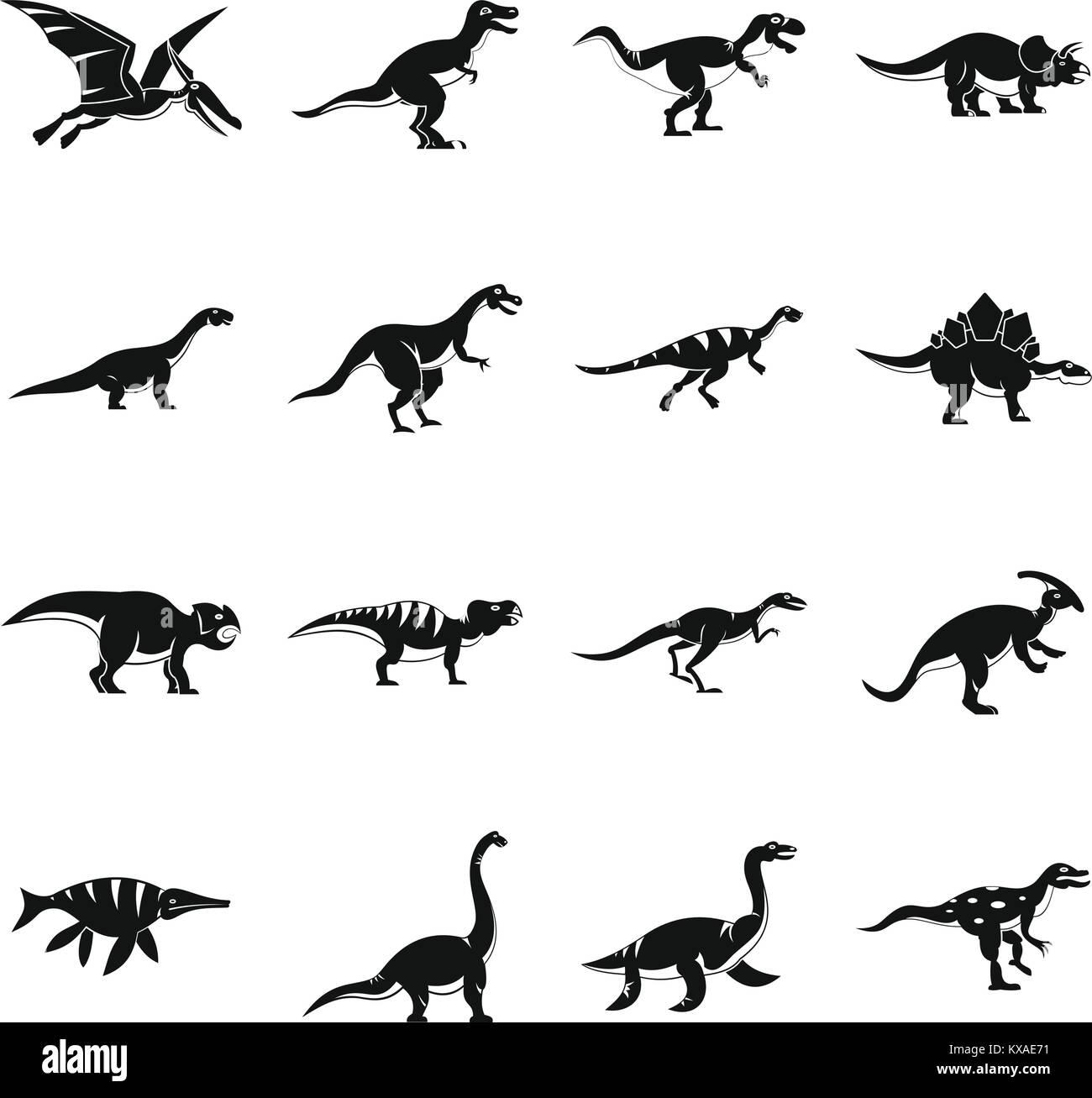 Dinosaur icons set, simple style - Stock Image
