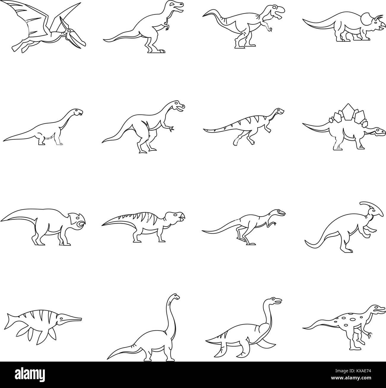 Dinosaur icons set, outline style - Stock Image