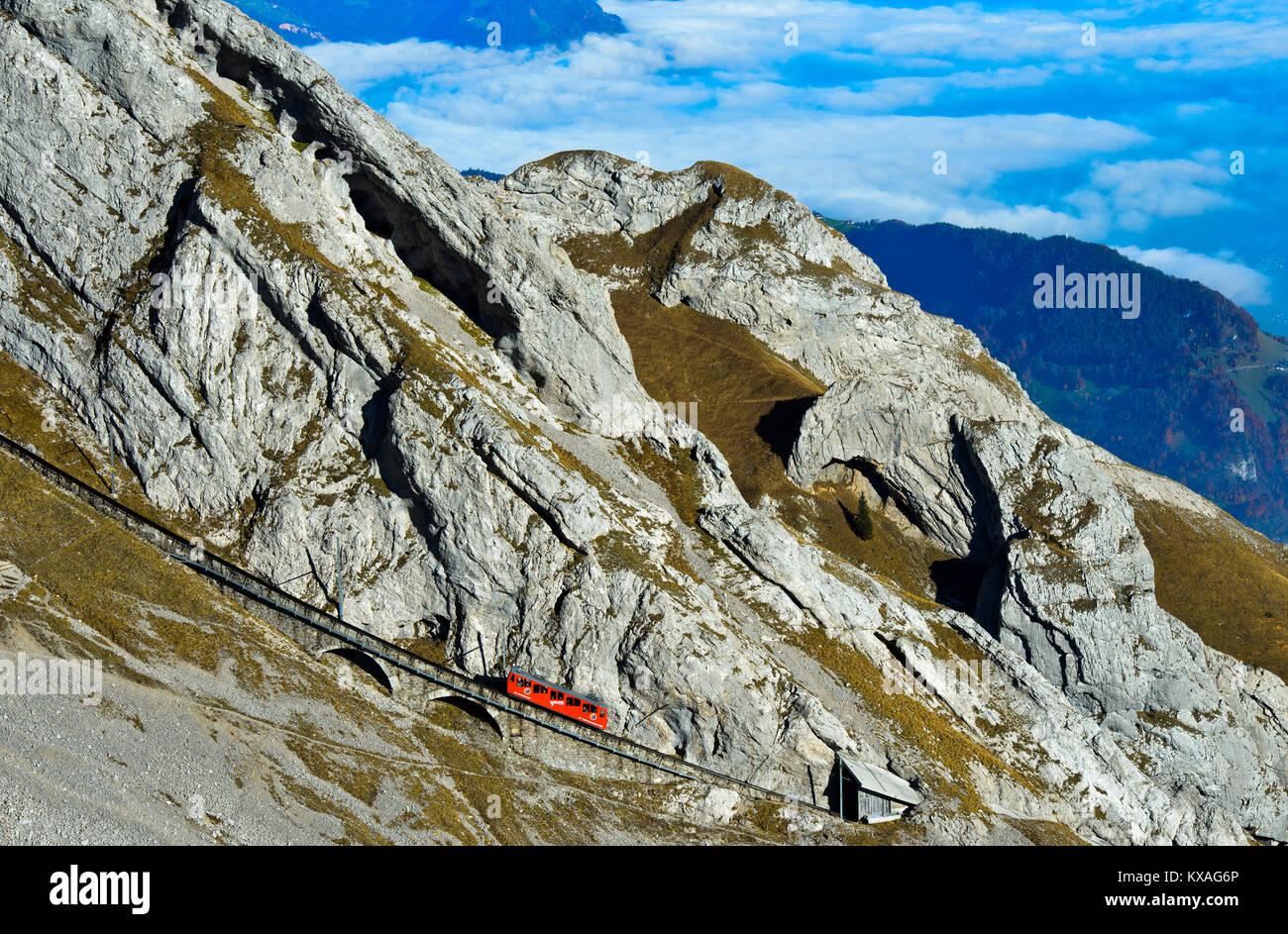 Red wagon of the Pilatus Railway at Mount Pilatus,Alpnachstad,Switzerland - Stock Image
