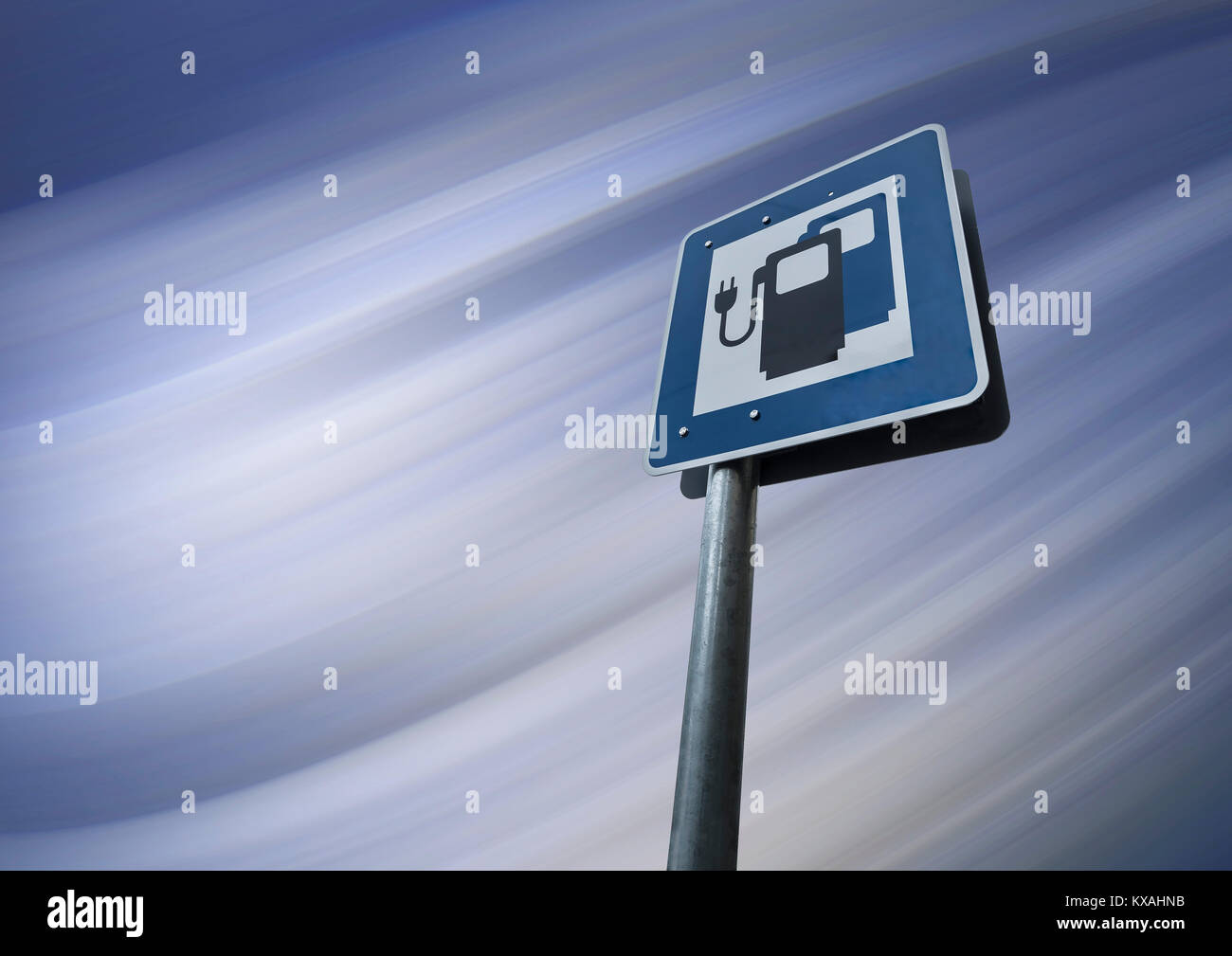 Information sign for electric car charging stations, electro-mobility, public charging device on road, Germany Stock Photo