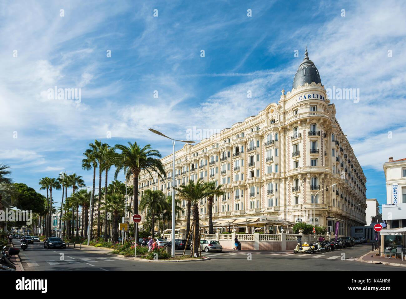Hotel Carlton, Cannes, Côte d' Azur, Provence-Alpes-Côte d' Azur, South of France, France - Stock Image