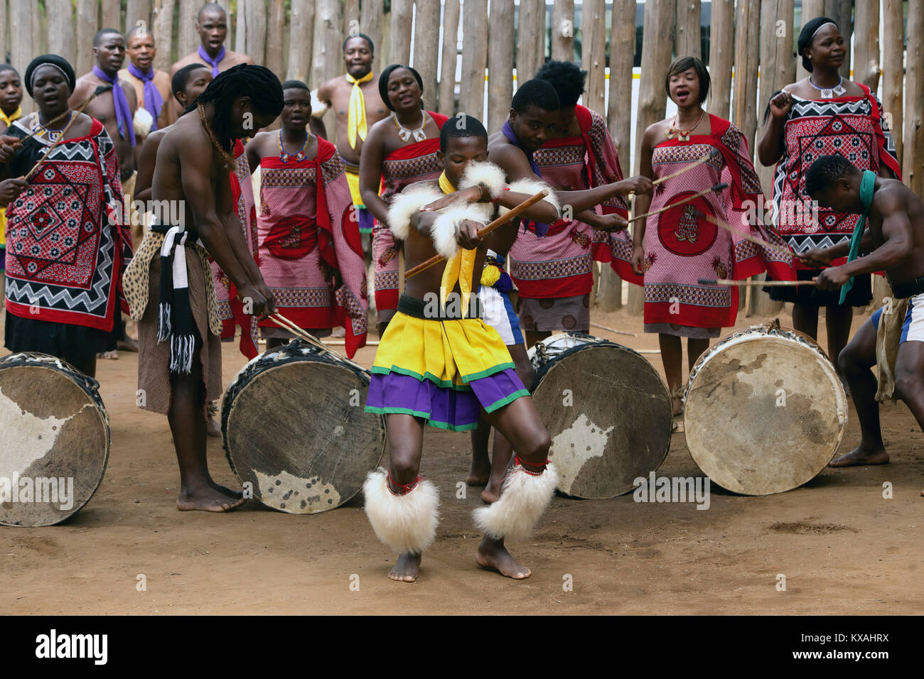 Natives dancing, singing and playing drums during traditional African show, Swaziland - Stock Image